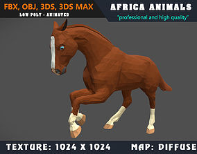 animated Low Poly Horse Chestnut Cartoon 3D Model 3