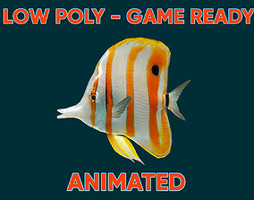 Low poly Butterfly Fish Animated - Game Ready 3D asset