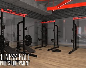 Fitness hall - sports equipment 3D asset