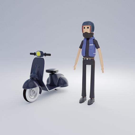 Biker character cartoon game Low-poly