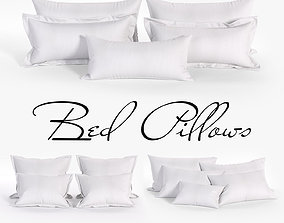 White Bed Pillows 02 3 sets 14 different Pillows 3D