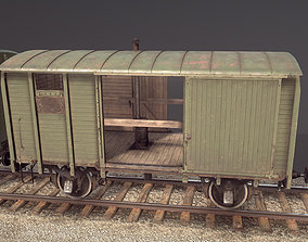 Railway Covered Goods Wagon 18T Vr2 Default Green 3D model