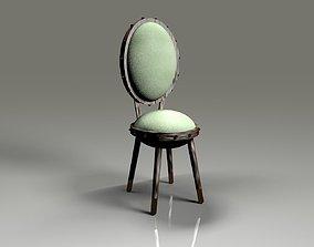 3D light green velvet slim stool