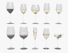 Riedel Superleggero Glasses With Wine Collection 3D model