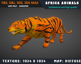 Low Poly Tiger Cartoon 3D Model Animated - Game animated