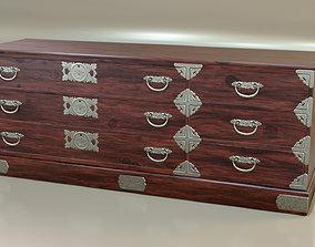 3D model Japanese folk art chest of drawer dresser