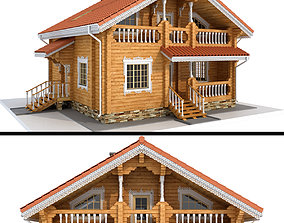 Log house - rounded log 3D roof