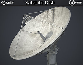 3D model low-poly PBR Satellite Dish