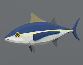 Low Poly Cartoon Tuna Fish 3D asset