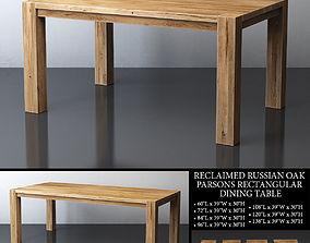 RECLAIMED RUSSIAN OAK PARSONS RECTANGULAR DINING TABLE 3D