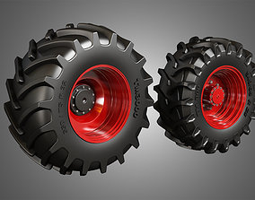 3D Tractor Tires and Rims - T02