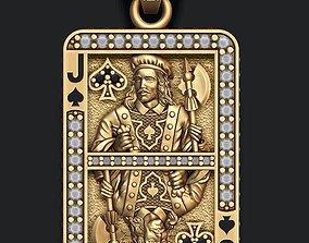 3D printable model Spade Jack playing card pendant