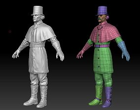 3D model European gentleman ZBrush raw file