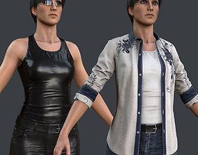 3D model Female 1 - clothing 2 - Full Pack