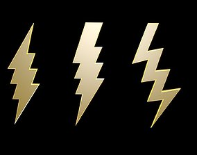 3D model Low poly thunder symbols 3