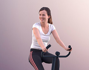 Nadin 11138 - Young Woman Training On A Bike In 3D asset 1