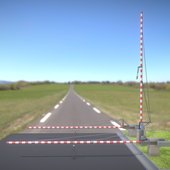 Railroad Barrier 8m High-Poly (Blender-2.91 Eevee)