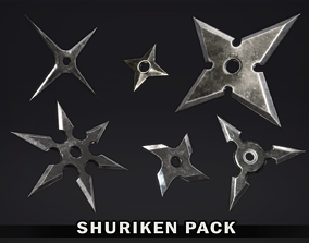 Shuriken Pack 3D model game-ready