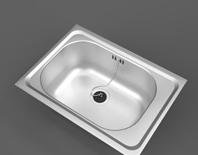 3D model Franke Inset Stainless Steel Wash Trough Sink 1
