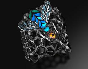 Blue Bee enamel ring 3D printable model jewel