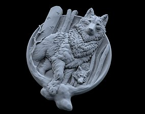 3D print model Wolf and baby pendant jewelry medallion