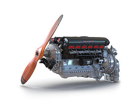 3D This Piston Aero Engine Rolls Royce Merlin 2
