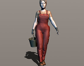3D printable model Girl working with a bucket 2