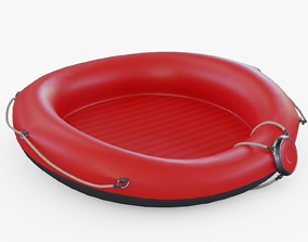 3D model Red Rafting Boat