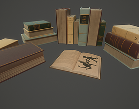 realtime Vintage Book Set 5 Types - PBR Low-poly 3D