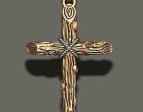 cross pendant with wood texture 3D printable model