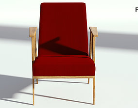 Retro Red Fabric Armchair 3D