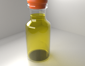 Medicine Bottle 2 with Clear Liquid 3D model