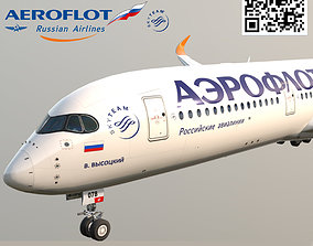 3D model Airbus A350-900 Aeroflot livery