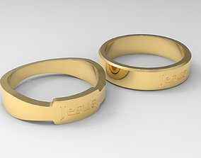 Jesus Couple Ring Gold 3D print model
