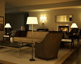 Elegant Dark Living Room With Lamps 3D