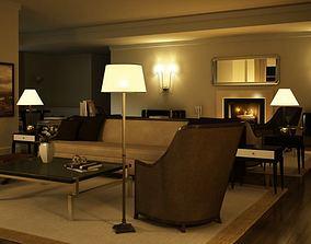 Elegant Dark Living Room With Lamps 3D