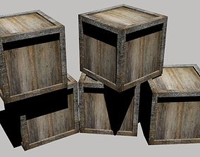 wooden box industrial 3D asset game-ready