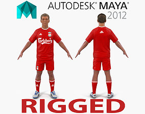 3D Soccer Player Liverpool Rigged for Maya