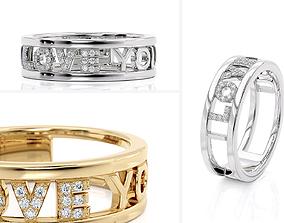 3D printable model R 0251 Love You Ring rings