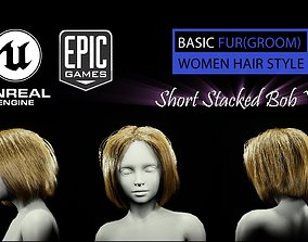 3D asset Short Stacked Bob V2 Hairstyle Groom For UE4
