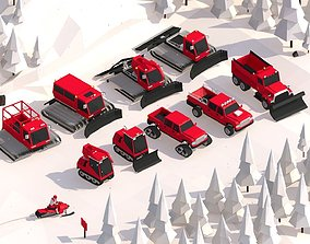 3D model Cartoon Low Poly Winter Snow Vehicles Pack
