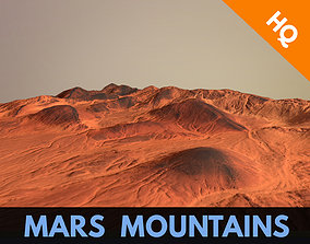 3D asset Mars Planet Terrain Mountains Landscape Desert 2