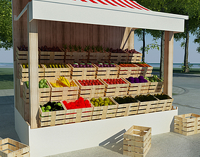 Vegetable Stand 3D asset
