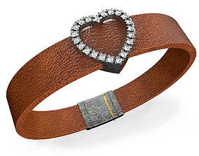 Heart Leather Bracelet 3D printable model