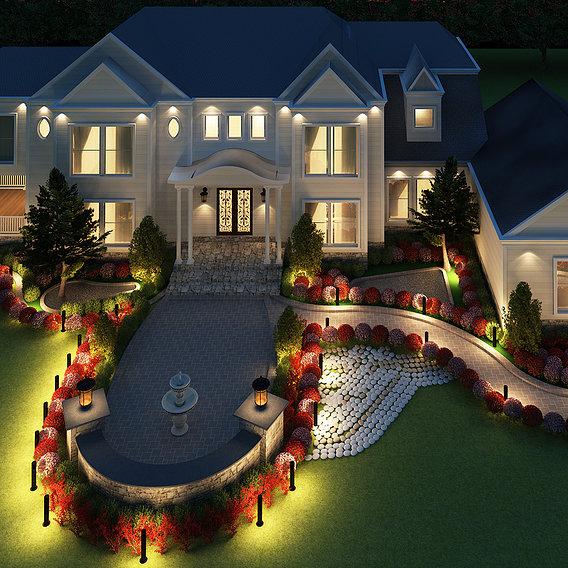 Modern house landscape render in 3ds max