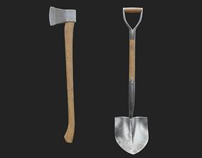 Axe and shovel 3D model