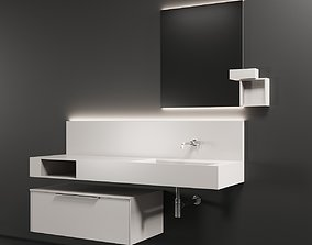 Cerasa NEROLAB SET 2 Wood veneer vanity unit 3D model