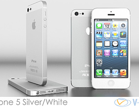 3D model iPhone 5 White Silver Vray