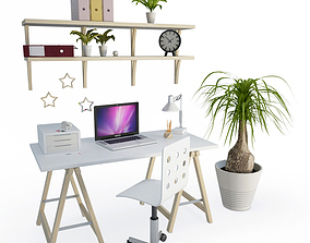 3D Desk Office Composition