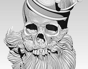 Beard skull king pano pendant necklace 3D printable model